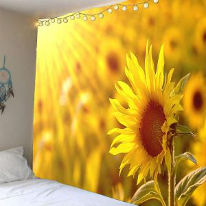 Sunflower Printed Wall Art Waterproof Tapestry - Yellow - W79 Inch * L79 Inch