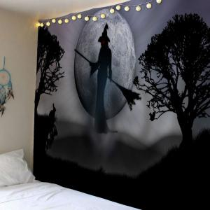 Wall Hanging Halloween Witch Print Tapestry - GRAY W91 INCH * L71 INCH