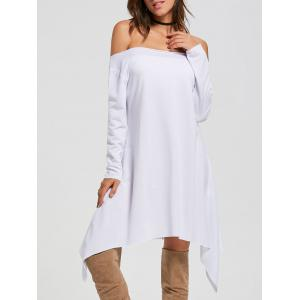 Asymmetric Off The Shoulder Long Sleeve Dress