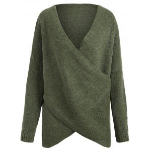 Surplice Drop Shoulder Plus Size Sweater - Army Green - One Size