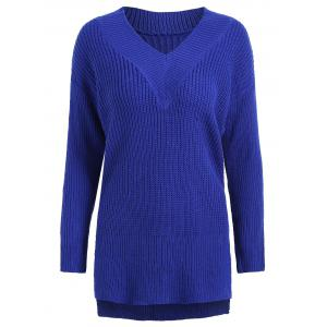 Drop Shoulder High Low Plus Size Sweater