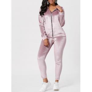 Drawstring Hoodie with Pants Sweat Suits - Light Pink - Xl