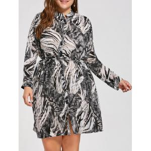 Plus Size Pleated Zebra Printed Smock Shirt Dress - Black - One Size