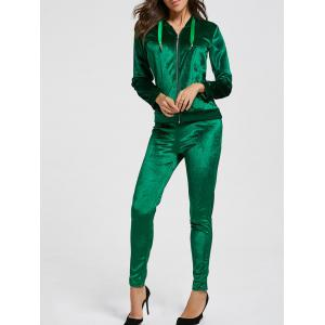 Drawstring Hoodie with Pants Sweat Suits - Blackish Green - S