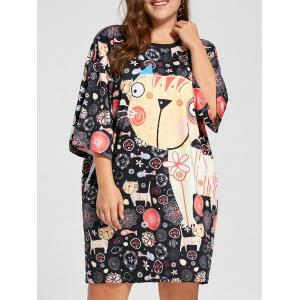 Plus Size Kitten Funny Printed Tee Dress