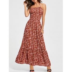 Back Lace Up Floral Halter Maxi Sundress