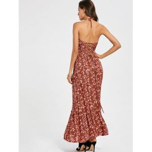 Back Lace Up Floral Halter Maxi Sundress -
