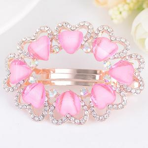 Tiny Heart Rhinestone Embellished Round Barrette - Rose Clair