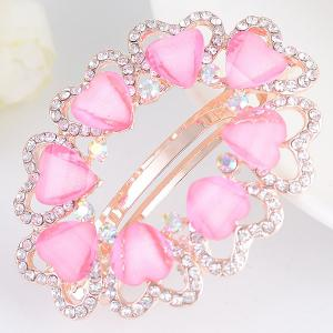 Tiny Heart Rhinestone Embellished Round Barrette - Light Pink - W16 Inch * L47 Inch