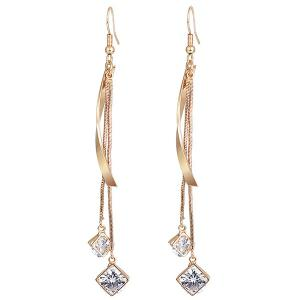 Faux Diamond Metallic Link Chain Hook Earrings - Golden