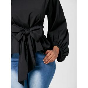Belted Puff Sleeve Blouse - BLACK XL