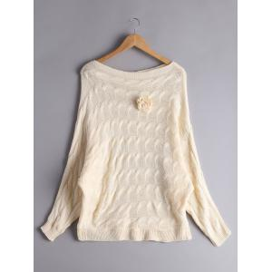Cable Knit Floral Dolman Sleeve Sweater - Beige - One Size