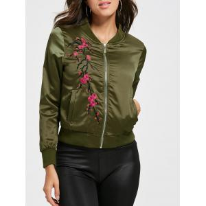 Floral Embroidered Bomber Jacket - Green - 2xl