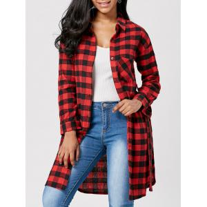 Long Sleeve Plaid Flannel Shirt with Belt