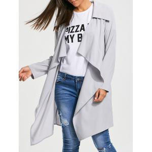 Plain Open Front Waterfall Trench Coat