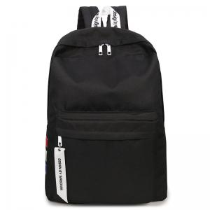 USB Interface Nylon Zippers Backpack - Noir