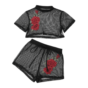Floral Patched Mesh Crop Top with Shorts - BLACK M
