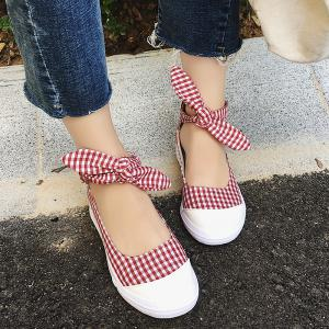 Gingham Bowknot Ankle Cuff Flat Shoes - Rouge 39