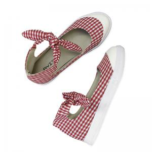 Gingham Bowknot Ankle Cuff Flat Shoes - Red - 38