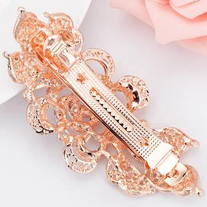Faux Crystal Inlaid Peacock Shape Barrette -