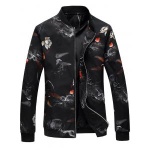 Lotus Flower Print Zip Up Bomber Jacket
