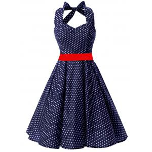Vintage Backless Halter Polka Dot Skater Dress - Deep Blue - S