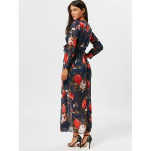 Flower Print Chiffon Maxi Surplice Dress -