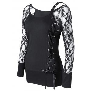 Raglan Sleeve Fitted Lace Up Top - Black - 2xl