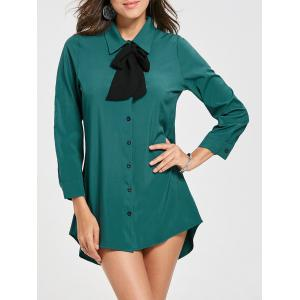 Long Sleeve Bow Collar Shirt Dress