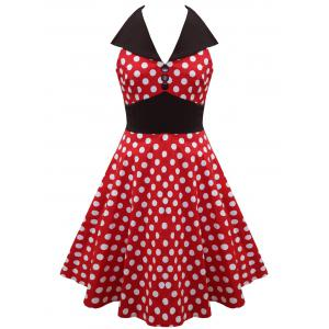 Vintage Polka Dot Backless Pin Up Skater Dress