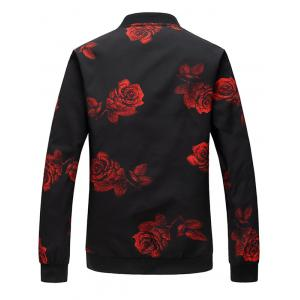 Zip Up Rose Print Bomber Jacket -