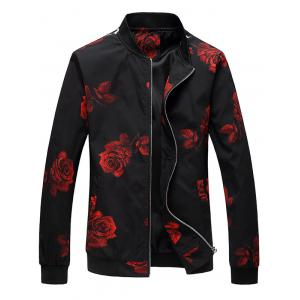 Zip Up Rose Print Bomber Jacket - Red - Xl