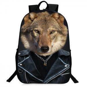 Zipper 3D Animal Pattern Backpack - Brown