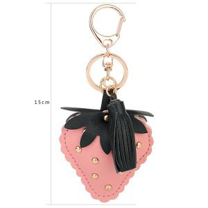 Tassel Rivet Strawberry Design Keychain - PINK