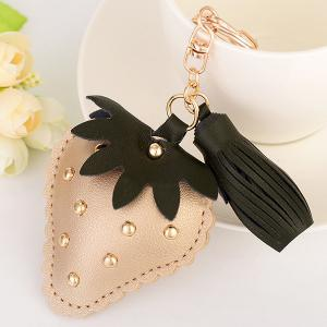Tassel Rivet Strawberry Design Keychain