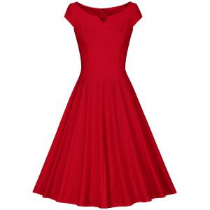 Retro V Neck Fit and Flare Dress