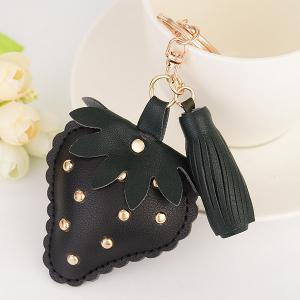 Tassel Rivet Strawberry Design Keychain - Black - One Size
