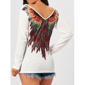 Tribal Feathers Print Long Sleeve T-shirt