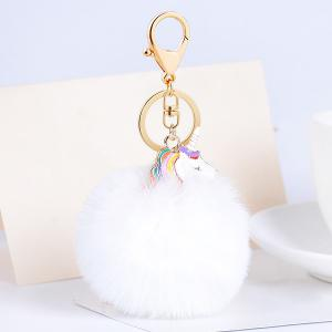 Pendant Pompon Puff Ball Keychain - White