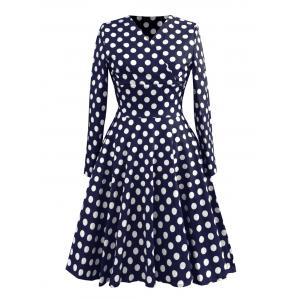 Vintage Polka Dot Long Sleeve Skater Dress