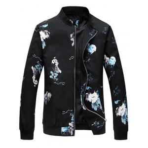 Flower Pattern Zip Up Bomber Jacket
