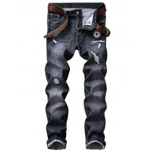 Embroidered Applique Straight Leg Ripped Jeans
