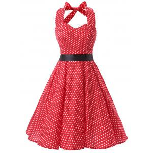 Vintage Backless Halter Polka Dot Skater Dress