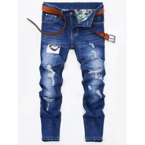 Applique Design Zip Fly Ripped Jeans - Denim Blue - 38