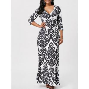 Wrap Ethnic Print Maxi Dress - Black - S