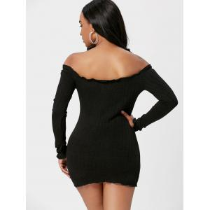 Off The Shoulder Mini Sweater Dress - BLACK XL