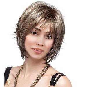 Short Side Bang Colormix Straight Synthetic Wig