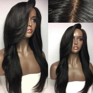 Deep Side Part Long Natural Straight Synthetic Wig - Natural Black