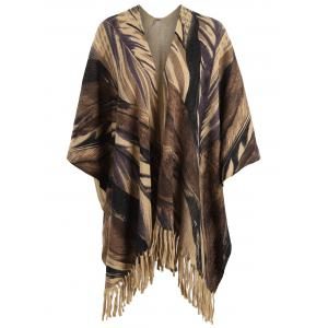 Printed Fringed Plus Size Knit Cape - Brown - One Size