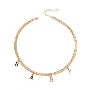 Alloy Beaded Charm Baby Necklace - Golden